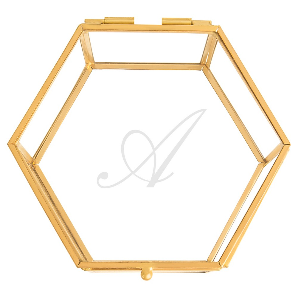 """A"" Keepsake Glass Box Gold, Clear - A"