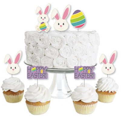 Big Dot of Happiness Hippity Hoppity - Dessert Cupcake Toppers - Easter Bunny Party Clear Treat Picks - Set of 24