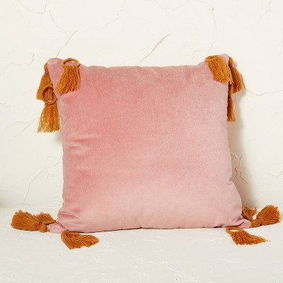 Velvet Square Throw Pillow with Ring Tassels - Opalhouse™ designed with Jungalow™