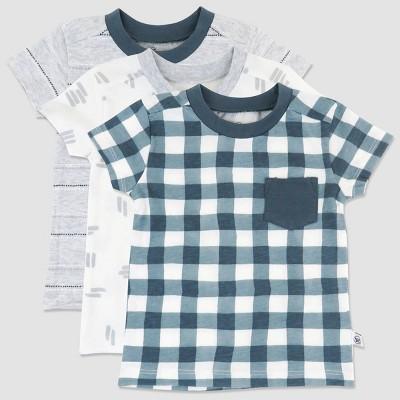 Honest Baby Boys' 3pk Organic Cotton Painted Buffalo Pocket T-Shirt - Navy