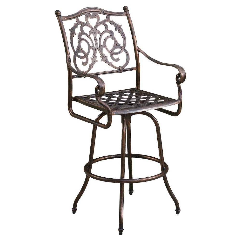 Casselberry Cast Aluminum Patio Barstool - Shiny Copper - Christopher Knight Home