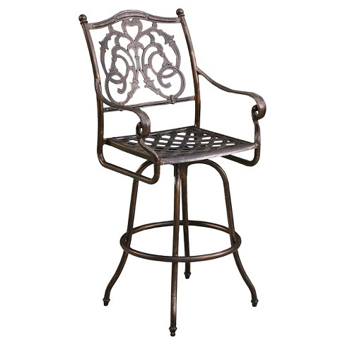 Casselberry Cast Aluminum Patio Barstool - Shiny Copper - Christopher Knight Home - image 1 of 4