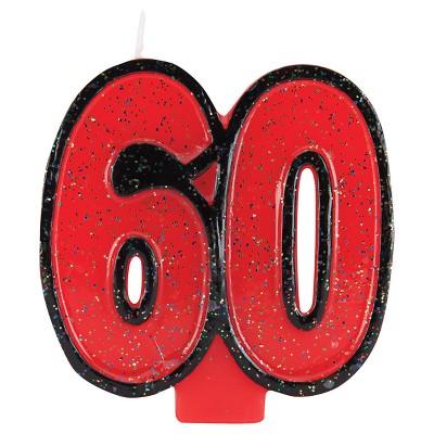 60th Birthday Glitter Candle