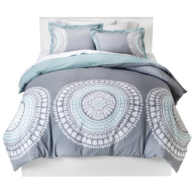 Gray Medallion Duvet Cover Set (Full/Queen)- Room Essentials™