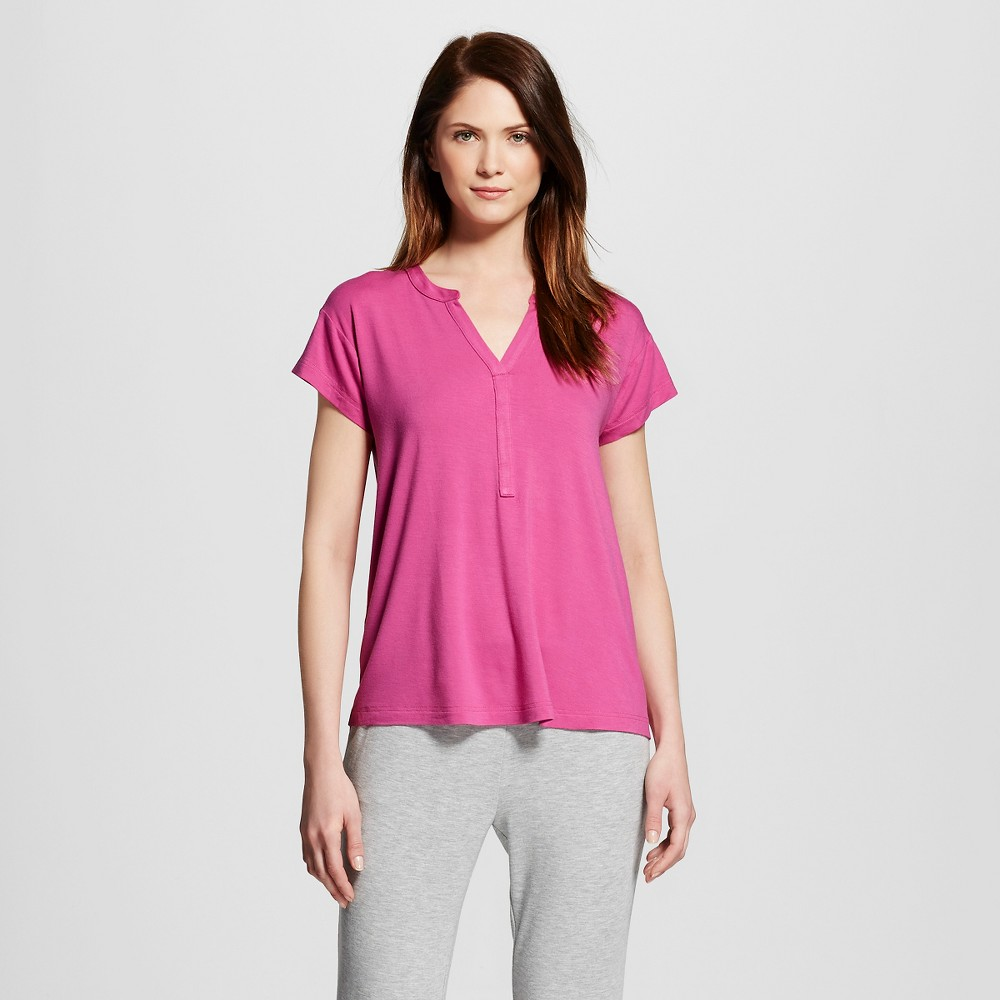 Women's Sleepwear Fluid Knit Short Sleeve Tunic Top - Pomegranate Pink S