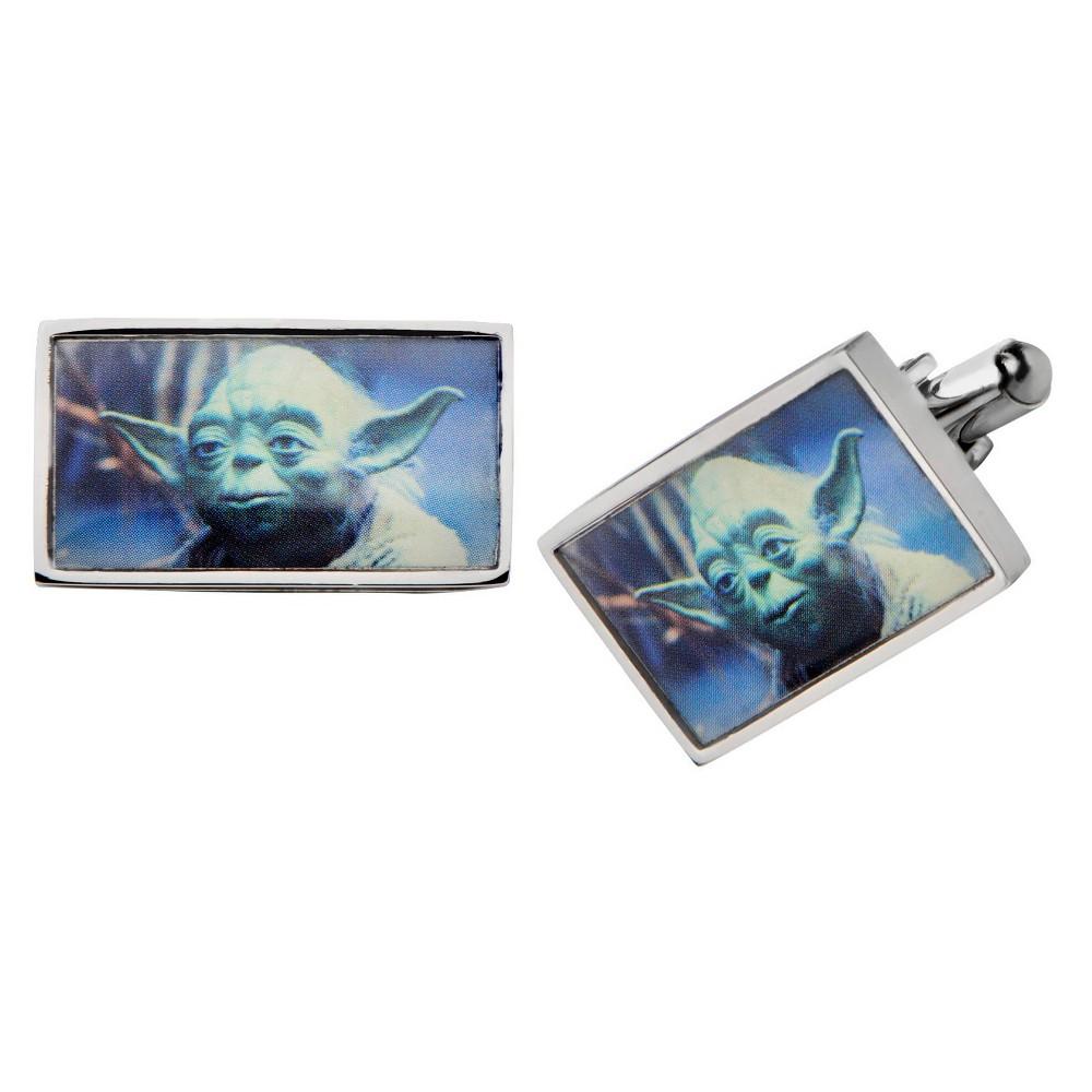 Men's Star Wars Yoda Graphic Stainless Steel Rectangular Cufflinks
