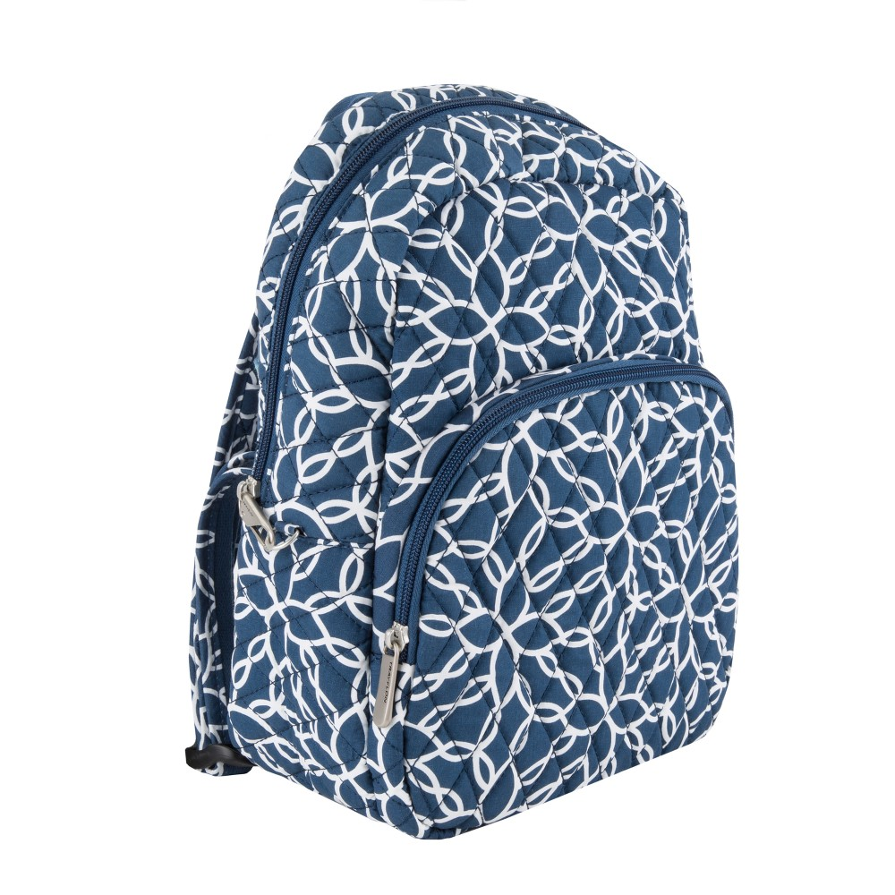 Travelon Anti-Theft Cotton Backpack - Woven Flower, Admiral Blue