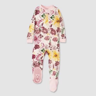 Burt's Bees Baby® Baby Girls' Floral Organic Cotton Footed Sleepers - Pink 12M