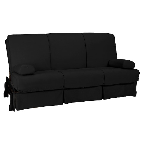 Low Arm Perfect Futon Sofa Sleeper - Black Wood Finish - Black Upholstery - Queen - Size - Sit N Sleep - image 1 of 4