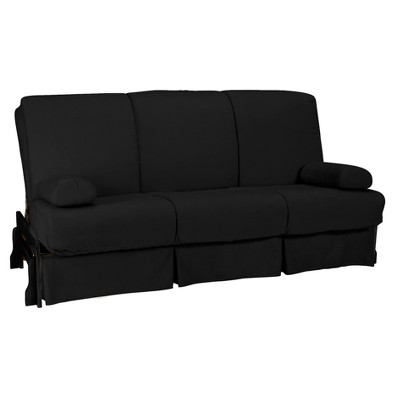 Low Arm Perfect Futon Sofa Sleeper   Black Wood Finish   Black Upholstery    Queen   Size   Epic Furnishings