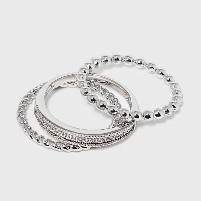 Women's Cubic Zirconia Band-Small Rope Band and Med Bead Band Silver Plated Stack Ring Set