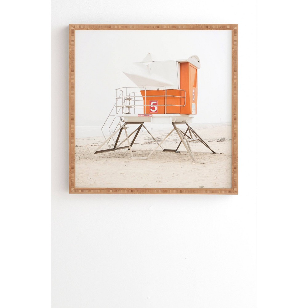 "Image of ""12"""" x 12"""" Bree Madden Beach Tower Framed Wall Art Orange - Deny Designs, Size: 12"""" x 12"""""""