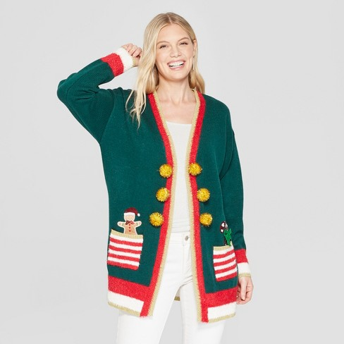 Womens Christmas Elf Candy Cane Cardigan Ugly Sweater 33 Degrees