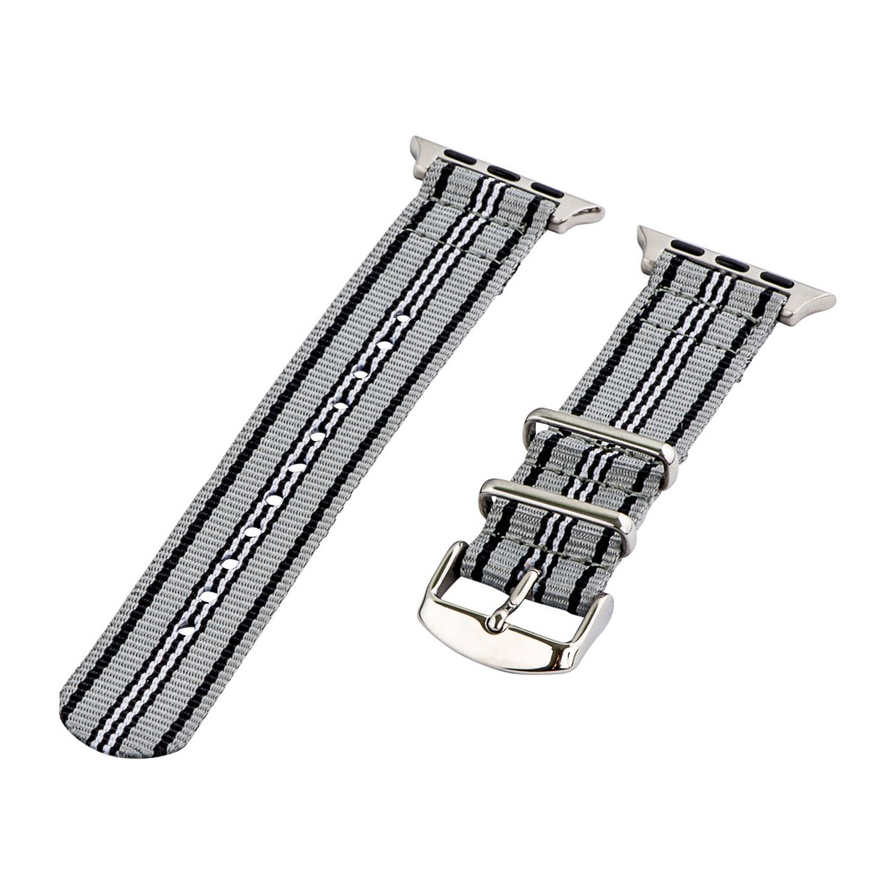 Clockwork Synergy Classic Nato 2 Apple Watch Band 42mm with Steel Adapter - Gray/Black/White, Adult Unisex, Multicolored Customize the look of your timepiece with the Classic Nato 2-Piece Apple Watch Band from Clockwork Synergy. Crafted from high-quality nylon, this gray, black and white watchband ensures long-lasting durability without sacrificing comfortable wear. With 11 adjustability holes, you'll get the perfect custom fit so your watch stays in place all day. Whether you keep things sleek and sporty with the tri-colored design, or you switch it out depending on your outfit, you'll love sporting a unique look that complements your style. Color: Multicolored. Gender: Unisex. Age Group: Adult.