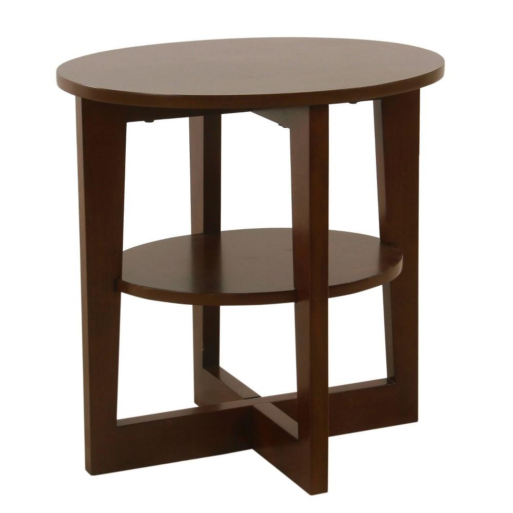 Round X Base Wood Accent Table with Shelf Storage Dark Walnut Brown - HomePop was $129.99 now $97.49 (25.0% off)