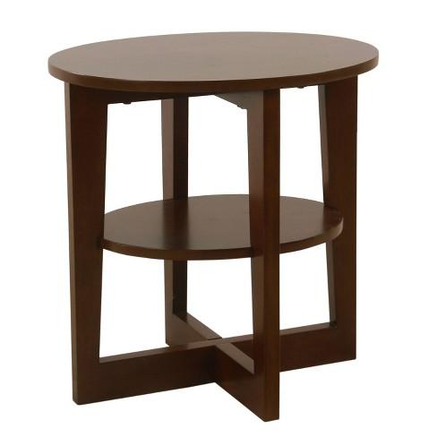 Round X Base Wood Accent Table With Shelf Storage Dark Walnut Brown Homepop