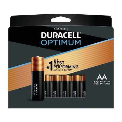 Duracell Optimum AA Batteries - 12 Pack Alkaline Battery with Resealable Tray