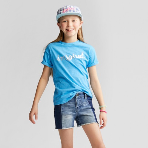 Girls' Inspired Lace-Up Back Graphic Short Sleeve T-Shirt - Cat & Jack™ Aqua - image 1 of 3