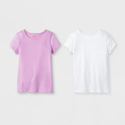 Girls' 2pk Adaptive Short Sleeve T-Shirt - Cat & Jack™ White/Pink