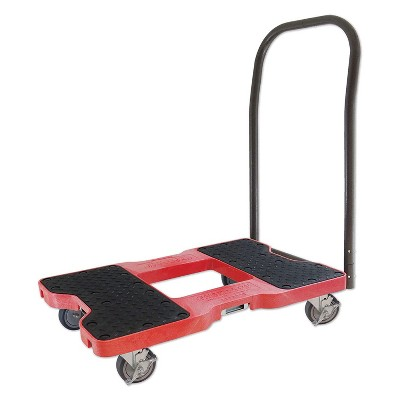 Snap Loc 1,500 lb Capacity Industrial Strength E Track Push Cart Dolly Red, Heavy Duty 4 in Polyurethane Swivel Non Marking Caster Wheels