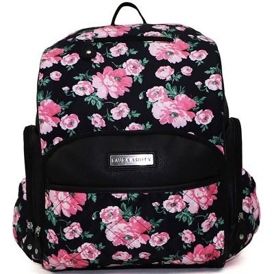 Laura Ashley Floral Diaper Bag - Pink/Black