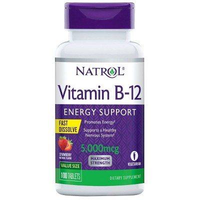 Natrol Vitamin B-12 Maximum Strength Fast Dissolve Energy Support Tablets - Strawberry - 100ct