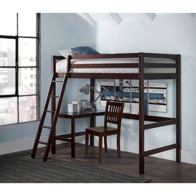 Twin Caspian Study Loft with Chair Chocolate - Hillsdale Furniture