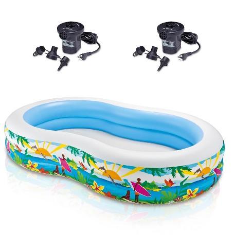 Intex Swim Center Inflatable Paradise Seaside Kids Swimming Pool & 2 Air  Pumps