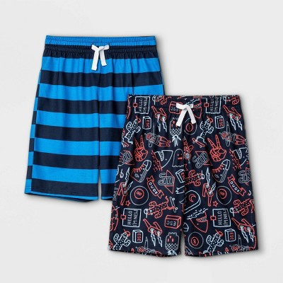 Boys' 2pk Striped & Doddle Print Pajama Set - Cat & Jack™ Navy