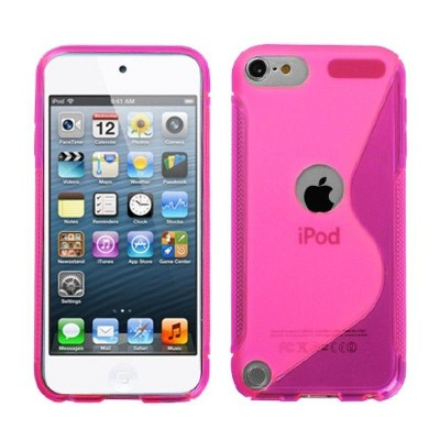 MYBAT For Apple iPod Touch 5th Gen/6th Gen Hot Pink Clear S Shape Candy Case Cover