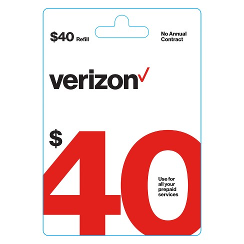 Verizon Wireless $40 Prepaid Refill Card (email delivery)