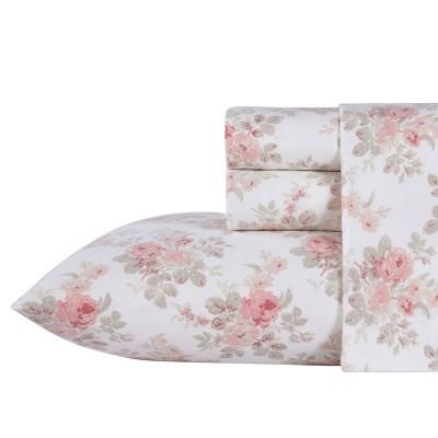 Queen Lisalee Flannel Sheet Set Pink - Laura Ashley