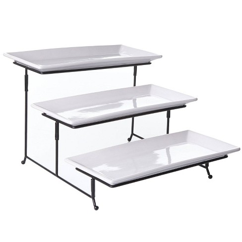Gibson Elite Porcelain Gracious 3-Tier Serving Plate Set with Metal Stand Whote - image 1 of 3