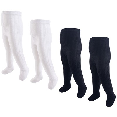 Hudson Baby Infant and Toddler Girl Cotton Rich Tights, Black White Cableknit