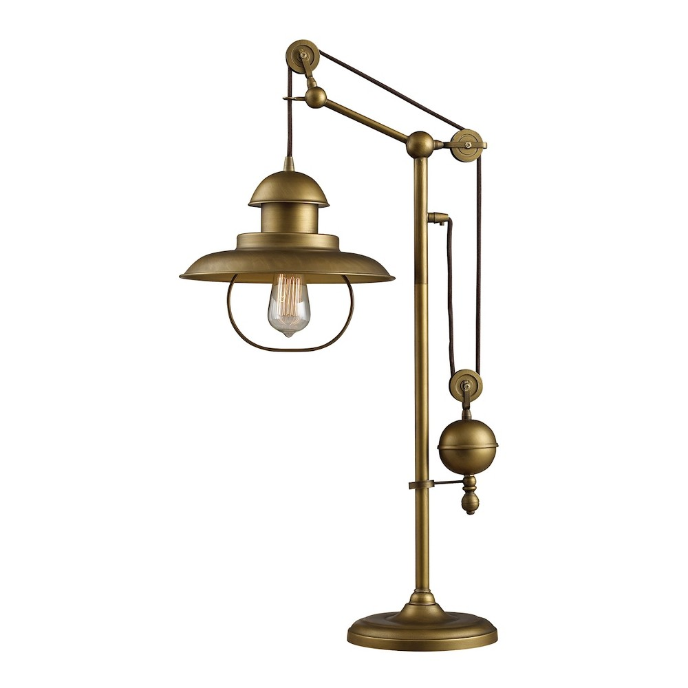 Image of Farmhouse Table Lamp with Matching Metal Shade Antique Brass (Includes Energy Efficient Light Bulb) - Dimond Lighting