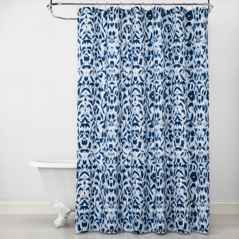 Ikat Shower Curtain Blue - Opalhouse™ - image 1 of 3