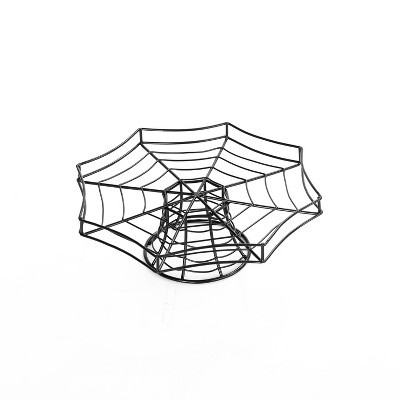 Lakeside Spider Web-Look Cake Serving Stand - Halloween Serveware Accent