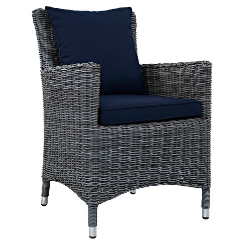 Summon Dining Outdoor Patio Sunbrella® Armchair in Canvas Navy - Modway - image 1 of 3