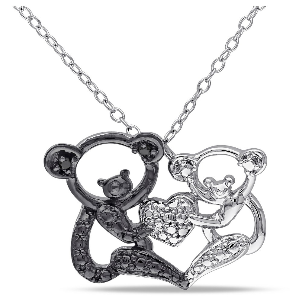Image of .02 CT. T.W. Black Diamond Double Koala Love Pendant Necklace in Sterling Silver (18), Black and White