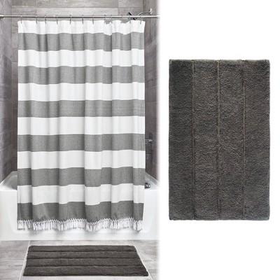 Wide Striped Fringe Shower Curtain and Plush Rug Set Gray - iDESIGN