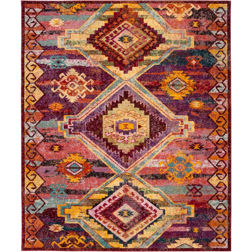 8'X10' Tribal Design Loomed Area Rug Red/Violet (Red/Purple) - Safavieh