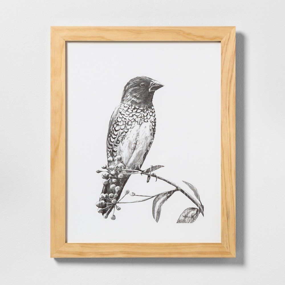 "Image of ""16"""" X 20"""" Sketched Bird on Branch Wall Art with Natural Wood Frame - Hearth & Hand with Magnolia"""