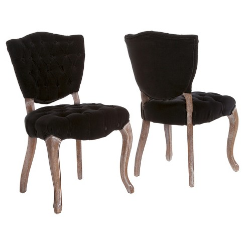 Bates Tufted Black Fabric Dining Chairs -Black (Set of 2) - Christopher  Knight Home