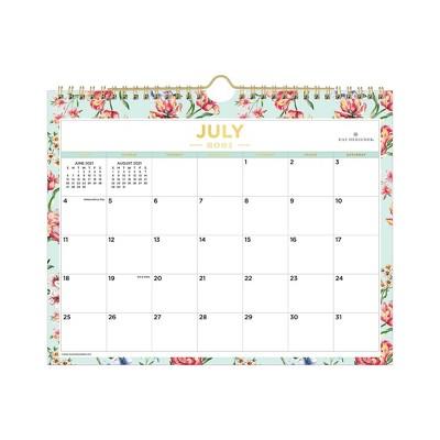 "2021-22 Academic Wall Calendar 11""x8.75"" Tulip Garden Mint - Day Designer"