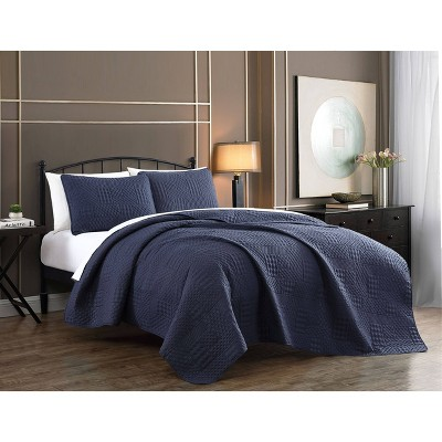 Queen 3pc Yardley Embossed Quilt Set Navy - Geneva Home Fashion