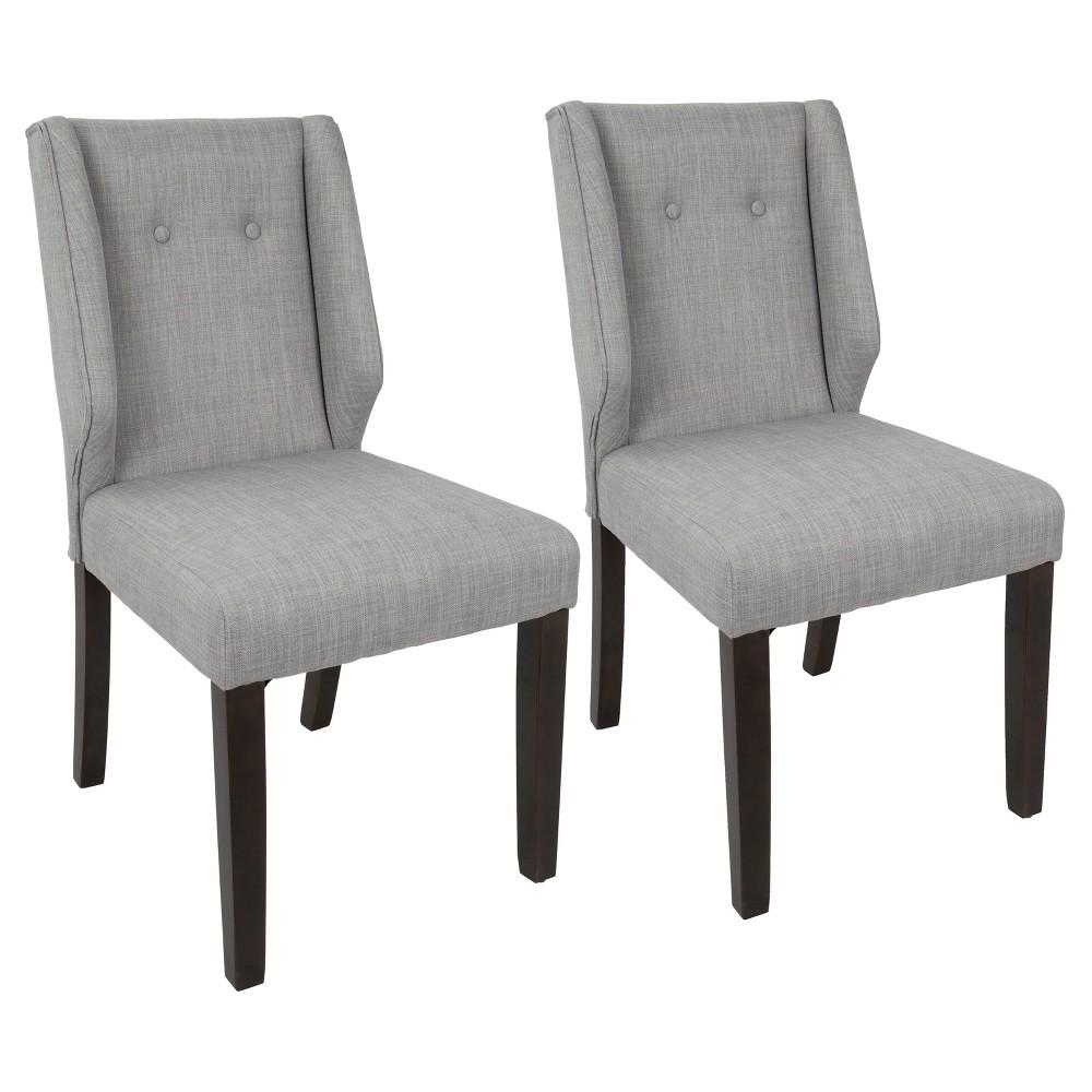 Rosario Contemporary Dining Chair - Walnut/Light Gray (Set of 2) - Lumisource