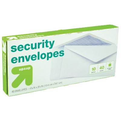 """Security Envelopes 4"""" x 9.5"""" 40ct White - up & up™"""