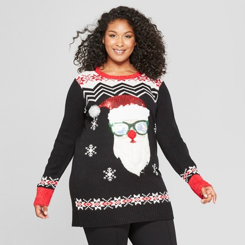 fee494a9723 Women's Plus Size Christmas Santa Claus Tunic Ugly Sweater - 33 Degrees  (Juniors') Black