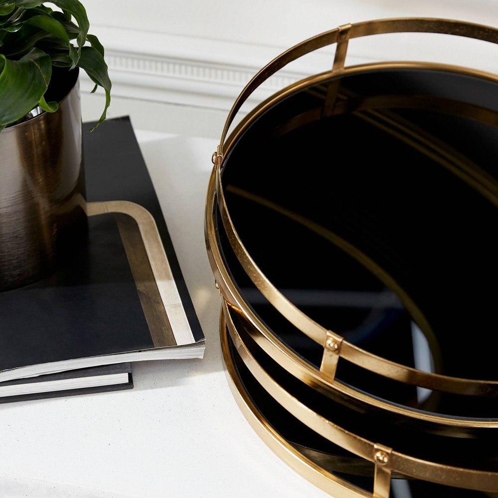 Set Of 2 Round Metal Trays With Glass Base Gold Black Olivia 38 May