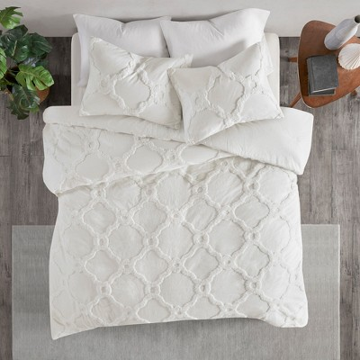 3pc Full/Queen Leena Cotton Geometric Duvet Cover Set White